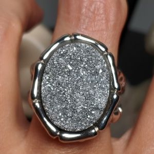 Huge Stainless Steel Druzy Gothic Ring Size 10